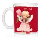 Шаблон Ангелочки с тюльпаном
